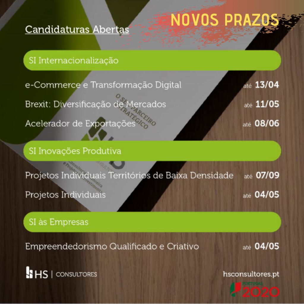 Novos prazos para submissão de candidaturas Portugal 2020